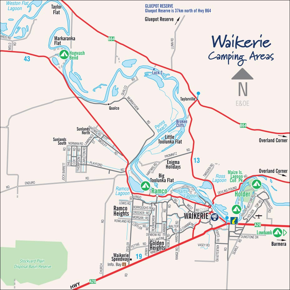 Waikerie Camping Areas Map